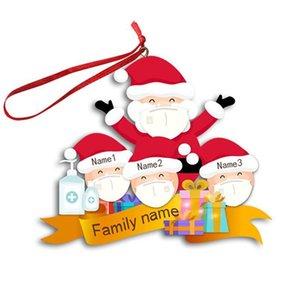 Mascarilla de la familia de 3 4 5 6 ornamento de la Navidad del INS pandemia personalizado del árbol de Navidad del muñeco de nieve colgantes Suministros Pendents favor de partido OWE1808