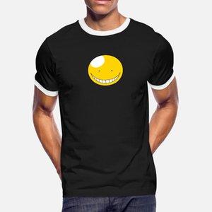 Korosensei Yuvarlak Yüz t gömlek erkekler Örme pamuk Yuvarlak Yaka Harf Gevşek Mizah Yaz Stili Trend gömlek