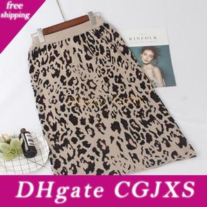 Gigogou Yüksek Bel Kadınlar Örme Etekler Sonbahar Kış Moda Leopard Uzun Etek Casual Sıcak Kadın Kalem Etek