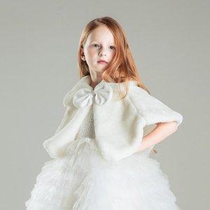 Девушки Зимнее пальто Принцесса Bowknot девушки плюша искусственного меха мыс плащ Свадьба шаль накидка для девочки Палантин Дети куртки