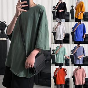 Été style Hong Kong hommes T-shirt manches courtes solide couleur et womens coton tendance col rond Nouvelle marée manches demi-boys veste en coton