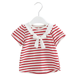 Children's short sleeve T-shirt girl's striped top new summer school style baby cotton lovely and comfortable clothes