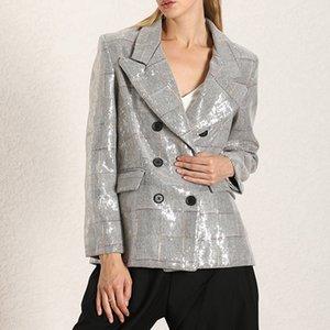 Мода бренд 2020 мода Британский стиль свободный темперамент тяжелой промышленности блестки вышитые двубортный костюм Вышитые блесток куртки