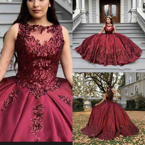 New Burgundy Quinceanera Dresses Jewel Neck Illusion Sequins Crystal Beads Ball Gown Puffy Sweet 16 Plus Size Party Prom Dress Evening Gowns