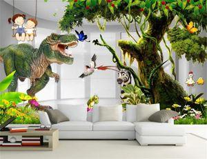 Comic Animal Low Price For Wallpaper 3d Dinosaur Big Tree Children's Room Kids Room Background Wall Painting Silk Wallpaper