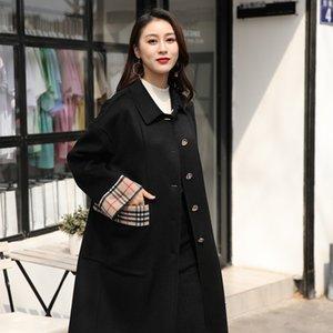 Dan Yafei nuova doppia faccia cappotto slim-fit monopetto delle donne di lana di lana cuciture cappotto di lana a quadri