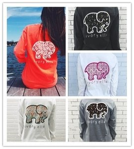 f022l Outono bonito marfim de elefante ELLA impressa solta rodada T-shirt long neck T-shirt das mulheres da luva coreano Nova