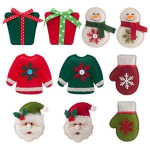 Albero di Natale appeso Busta regalo Babbo Natale del pendente del pupazzo di neve Guanti appendere le decorazioni Albero di Natale non tessuto spazzolato panno Socks Set EWB1005