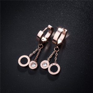 Roman characters round titanium steel ear buckle temperament popular earrings women's rose gold small accessories