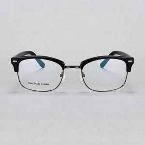 YOUTOP Men's Half-rim Optical Frames Myopia eyewear acetate and Metal Fashion Eye glasses 7058