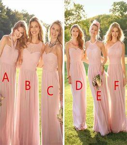 네클라인 쉬폰 여름 레이스 댄스 파티 파티 메이드 명예 드레스 이브닝 드레스 맞춤 제작 혼합 된 2021 뉴 핑크 저렴한 긴 신부 들러리 드레스