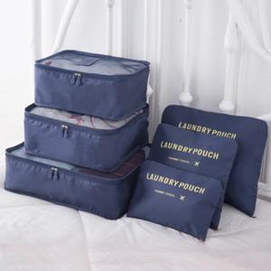 6PCS / Set de alta qualidade nylon pano viagem Mesh Bag In Bag bagagem Organizer Embalagem Cube Organizador para vestuário Família Closet sac wXK0 #