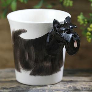 300ml preto Terrier Scottish Cup Cerâmica 3D Animais Caneca engraçada Dog Coffee Cup Tazas de Cerâmica Creativas dos desenhos animados
