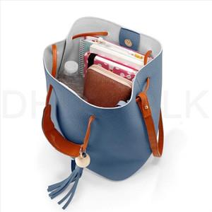 Frauen Bucket Bag Umhängetasche mit Holzperlen Fashion Eimer Messenger Umhängetaschen Sommer-Strand-Tasche Bolsa Feminina