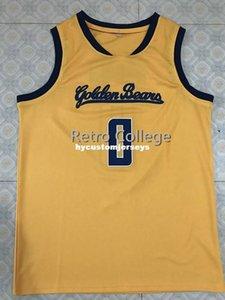 Vintage # 0 Jaylen Brown California Golden Bears Basketball Jersey bordado costura Personalizar qualquer nome e n XS-6XL colete Jerseys