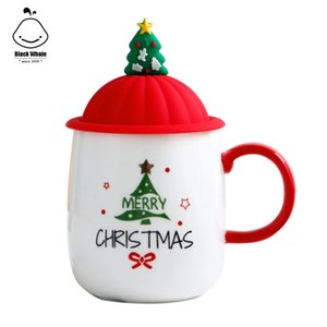 Christmas gift ceramic coffee mug and water milk cup for kids or girls birthday gift Santa Claus Water Cup with handle lid