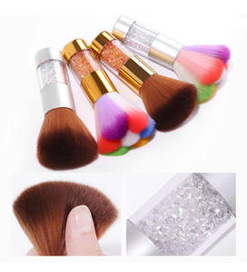 Wholesale 1Pcs Soft Hair Nail Cleaning Brush Remove Dust Powder Brush Gold Silver Rhinestones Handle Manicure Pedicure Beauty Care Tools