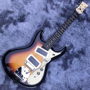 1966 The Ventures Mosrite Zero Fret Jrm Johnny Ramone Sunburst Electric Guitar Tremolo Tailpiece Dual Black P-90 Pickups Cream Pickguard