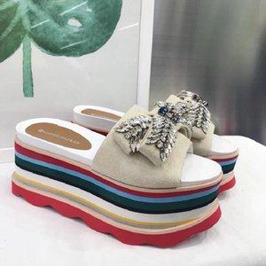 Zapatos de colores mezclados los zapatos de tacón alto Moda nueva plataforma sandalias de gamuza diamantes de imitación de mujer abierto-toe sandalias de cuero genuino cristal mujer