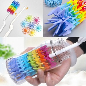 Cleaning Brush For Silicone Bottle Drinking Cup Water Mug 360 Degree Rotating Long Handle Rainbow Cleaning Brush Free shipping HH7-126 QhFp#