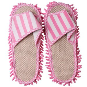 Floor Cleaning Lazy Home Striped Mop Slippers Chenille Foot Shoes Coral Fleece Unisex Polishing Dusting Washable Quick