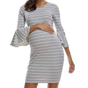 bunvel Hamile Anne Elbise Çizgili Baskılı Flare Kol Hamile Giyim Elbiseler Hamilelik Giyim vestidos
