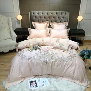 Floral Chinoiserie Blossom Embroidery Duvet Quilt Cover Egyptian Cotton Bedding set 4Pcs Queen King size Bed sheets set