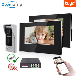 Doornanny Smart Video Intercom WiFi For Home Apartment Video Eye Peephole PoE Switch Villa Intercom Kit 1Doorbell To 2Monitor