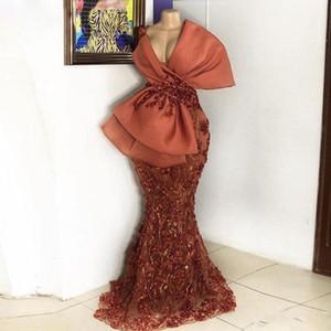 Stunning Mermaid Lace Prom Dresses Deep V Neck Evening Gowns Beaded Floor Length Custom Made Satin Formal Dress
