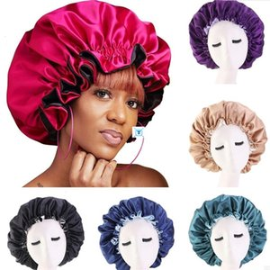 New Silk Night Cap Hat Double side wear Women Head Cover Sleep Cap Satin Bonnet for Beautiful Hair - Wake Up Perfect Daily Factory Sale .