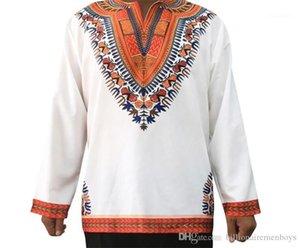 Männer lange Ärmel Tees Lässige Männer Kleidung Weinlese Mens Designer-T-Shirts Art und Weise Folk-Art-Druck Panelled