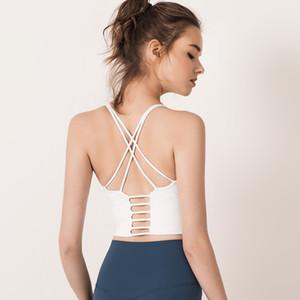 colore solido tracolla sottile trasversale posteriore abbigliamento lu di yoga senza schienale di forma fisica delle donne del reggiseno di bellezza sport Underwears lu reggiseno piccola fionda