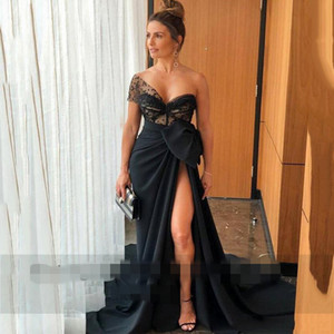 2020 Black Sweetheart sheer One Shoulder Mermaid Evening Dresses High Split Side chiffon Satin Long Prom Dress with Bow Robe De Soiree
