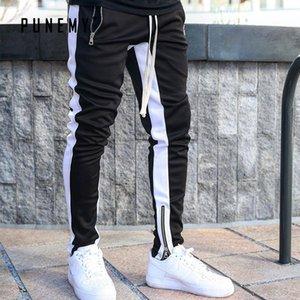 PUNEMY 2019 Fashion Side Stripe Lettre d'impression Pantalons Hop Hommes Pantalons Pantalons lacent Joggers en vrac Streetwear hommes Sweatpants