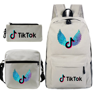 Backpack male and female students net celebrity vibrato printing schoolbag three-piece set of multi-functional large-capacity outdoor leisur