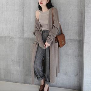 Di lunghezza media di XmCcb Loose Women stile coreano a maglia di lana del cappotto cardigan con torsione cappotto di lana spessa per esterno 2020 Autunno