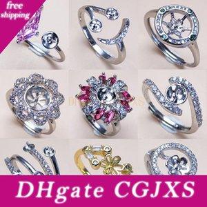 Pearl Rings Impostazioni di Zircon 925 Silver Ring Settings Ring per la ragazza delle donne regolabile vuoto Gioielli fai da te regalo