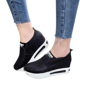 KLV-Frauen-flache starke untere Schuhe Slip-on-Stiefeletten beiläufige Plattform Sportschuhe scarpe donna estive nere zapatillas mujer # 5