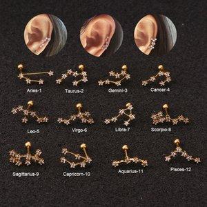 1 PCS Bar en acier inoxydable Mini 12 Constellation Stud Oreille Boutons de manchette Boucles d'oreilles de couleur d'or Zircon étoile Boucles d'oreille os manchette Bijoux