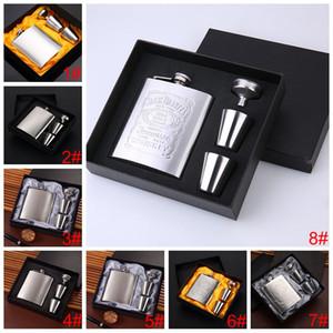 Küçük Cep Şarap Şişeleri Seti ile Şarap Cam Huni Özelleştirilebilir Hip Flask Açık Taşınabilir Paslanmaz Çelik 7oz Hip Flask Seti EEA2059