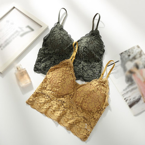 Women Camisoles Removable Chest Pad Floral Lace Bralette Underwear Female Wireless Soft Pad Push Up Sexy Lingeries New