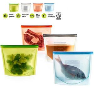 재사용 가능한 실리콘 식품 보존 가방 밀폐형 식품 보관 용기 다용도 가방 무료 배송 요리