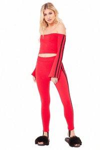 Yan Çizgili Tasarım Bayan eşofman Streetwear İnce kıyafetler Uzun Kollu Uzun Pants 2 adet SFTP # Tops Boyun Flare Kol Seksi Suits Slash