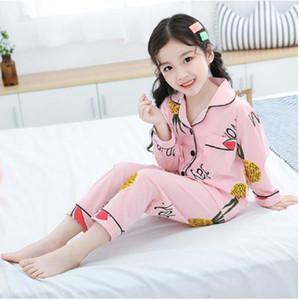 New Cotton 2020 Children Pajamas Set Casual Kids Cardigan Suit Fashion Cartoon Printed Girls Sleepwear Long Sleeve Boy Tracksuit