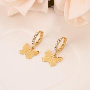 Women Drop Dangle Earring 22K 23K 24K Thai Baht Fashion FINE gold GF CZ Charms Jewelry butterfly Vintage