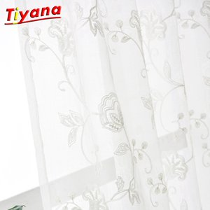 3D embroidery cotton linen fabric pure white Tulle Curtain sheer curtain Tulle Eyelet Rod Pocket 3x2.6 WP144 *15