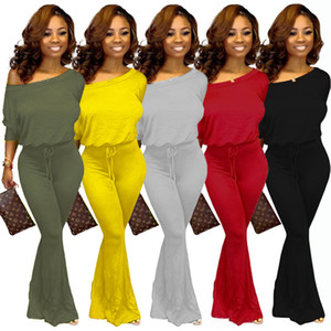 Women Bat Sleeve Jumpsuit Fashion Casual Big U-neck Long Bell Pants Solid Color Rompers Club Sexy Slim T Shirt Skinny Bodysuit DHL