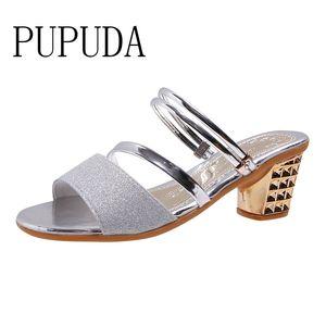 PUPUDA Classical One-Line Schnalle Sandalen Frauen Temperament-Absatz-Schuhe starke Ferse öffnen Zehe-Sandalen