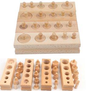 Juguetes de madera rompecabezas para la Educación Montessori Cilindro zócalo de juguete de Childern desarrollo de la práctica Sentidos acertijo matemático Rompecabezas Niños Y200317
