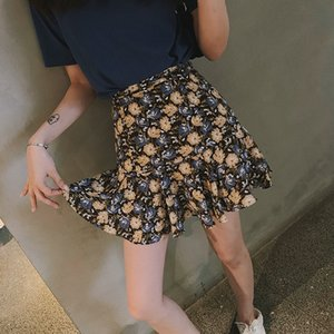 aMqzn 2020 Sommer-Kurzmantel hipster Frauen slim fit Mode One-Step Mermaid Fishtail fishtail Rock sexy Nachtrock Blumen one-step